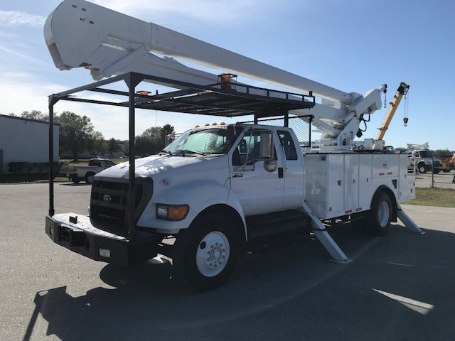 Stock # 61140 2012 Ford F750 60ft 2 Man Bucket Truck with Material Handler