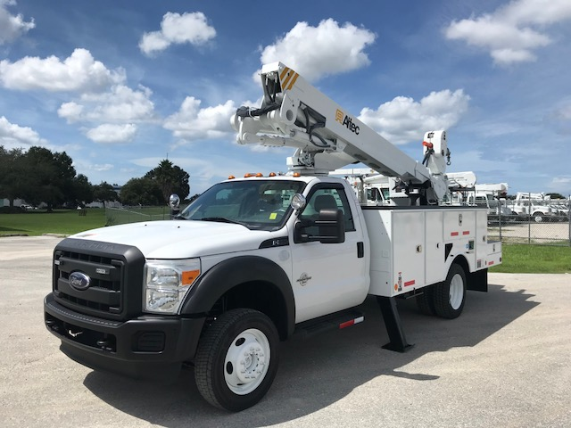 Stock # 79220  2013 Ford F550 45ft Bucket Truck w/ Material Handler