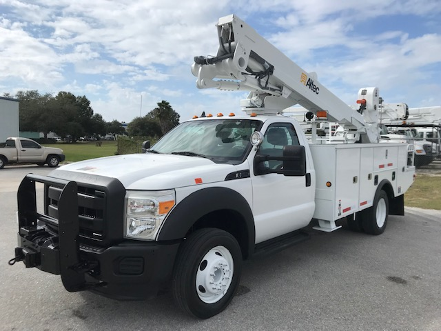 STOCK # 54690  2012 FORD F550 45FT BUCKET TRUCK W/ MAT HANDLER