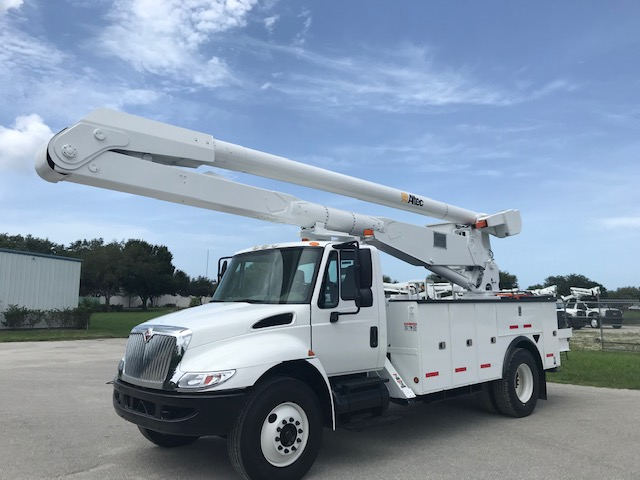 STOCK # 54674  2013 INTERNATIONAL 4300 60 FT 2 MAN BUCKET TRUCK W/ MATERIAL HANDLER