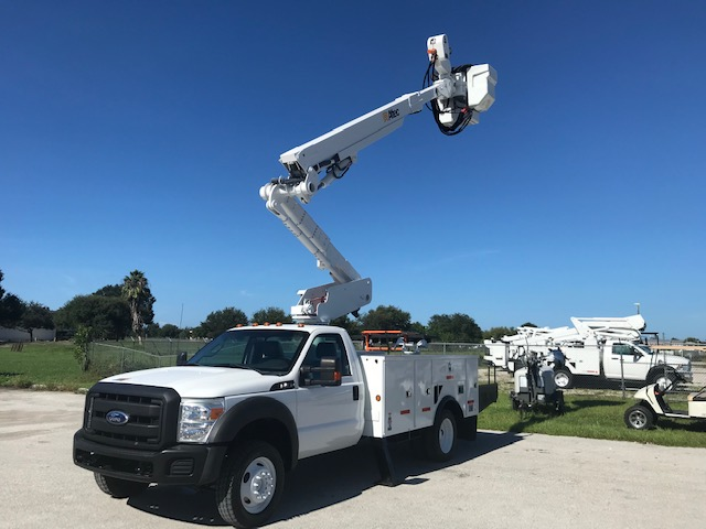 **SOLD**STOCK # 03766  2011 FORD F550 4X4 45FT MATERIAL HANDLER BUCKET TRUCK