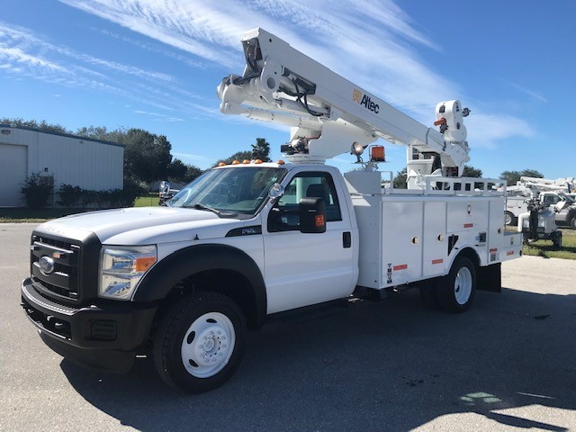 STOCK # 23703  2013 FORD 4X4 F550 45FT BUCKET TRUCK W/ MATERIAL HANDLER