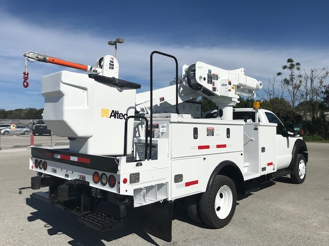 STOCK # 34359  2012 FORD F550 4X4 45FT BUCKET TRUCK W/ MATERIAL HANDLER