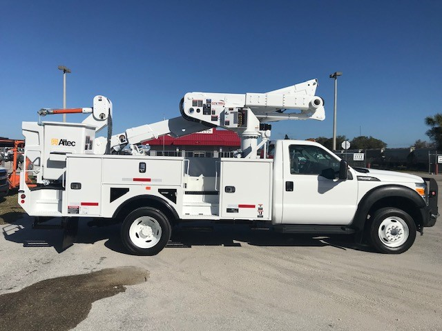 STOCK # 37047  2015 FORD F550 45FT MATERIAL HANDLER BUCKET TRUCK