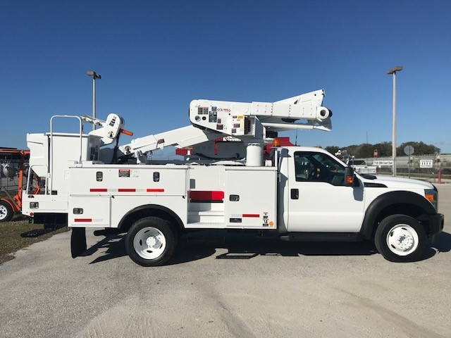 STOCK # 86738  2014 FORD F550 45FT BUCKET TRUCK W/ MATERIAL HANDLER